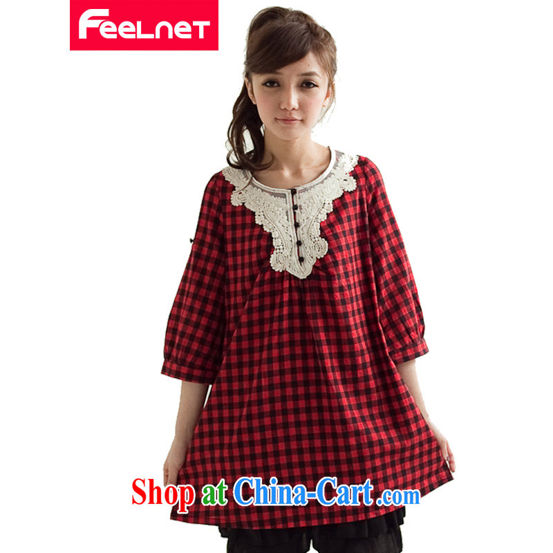 FeelNet larger female classic plaid long version the code shirt 2965 red Haig and code 44 code