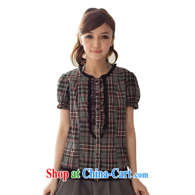 FeelNet larger female English style ribbed short sleeved T-shirt 6308 red plaid XL 44 code