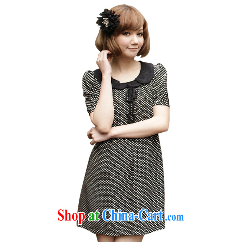 The FeelNet Code women's clothing summer level retro lace-collar little tied with the Code dress 416 black 4XL - 46 code