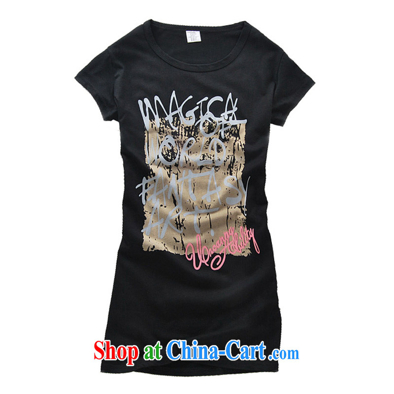 FeelNet larger female Korean summer thick MM short-sleeved relaxed casual stamp the code T pension 207 207 - black XL - 40