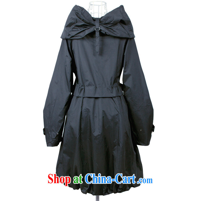 The line takes the Code women's clothing urban and stylish high-waist large Princess collar Korean video thin thick mm solid-colored loose wind jacket spring loaded GL 1044 black L