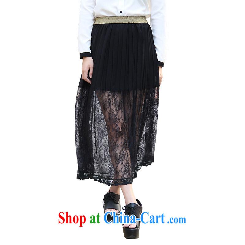 FeelNet Korean spring and summer new, larger female snow woven lace larger body skirt long skirt dress 510 blue are code