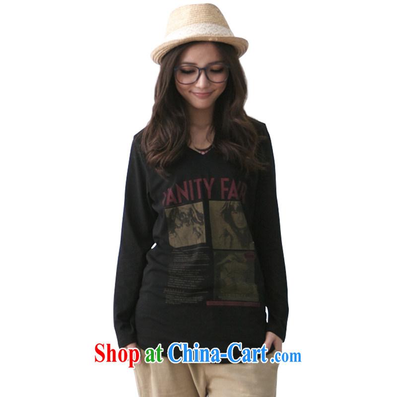 The FeelNet code female spring new solid T-shirt long, the code t-shirt Han version Liberal Women 11,823 black XL - 40