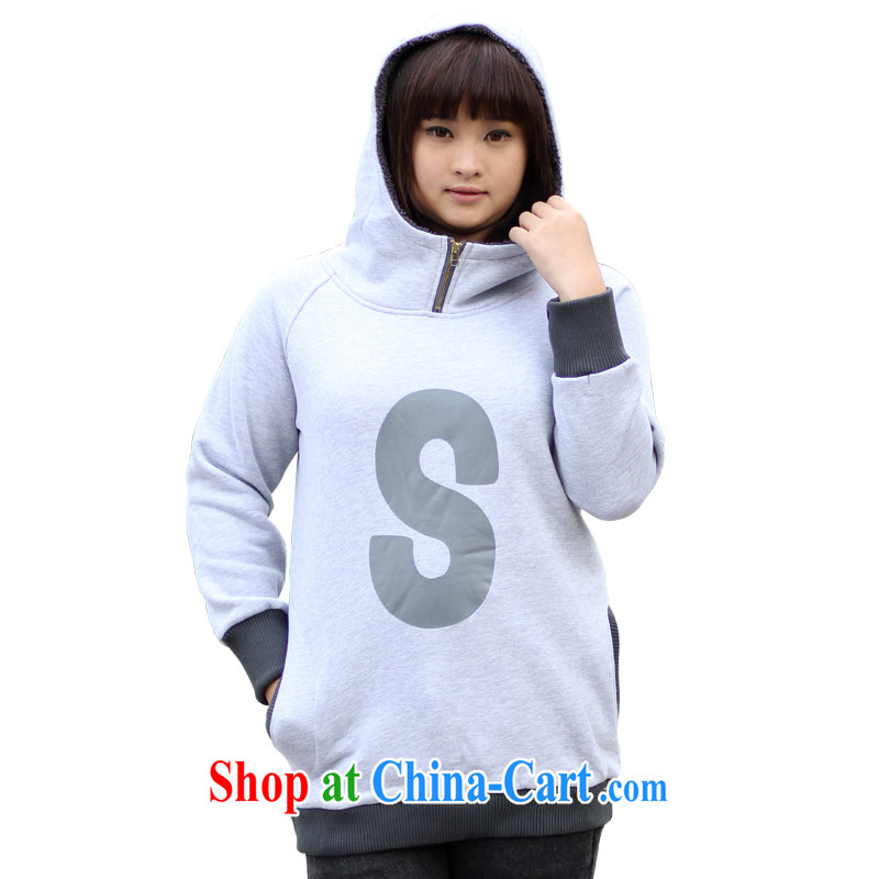 Feelnet Korean version XL girls the fat King Mao jacket? thick mm thick and lint-free cloth, long sweater 11,810 gray 2 XL - 44 code