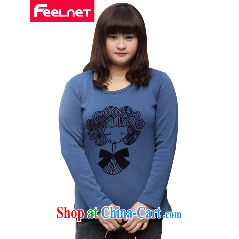 The feelnet Code women in Europe and America stamp duty XL the ventricular hypertrophy code T pension fall and winter with thick and lint-free cloth solid shirt 634 blue XL - 40