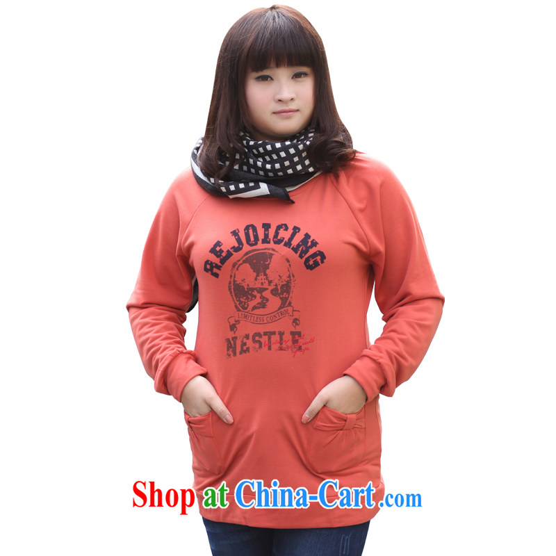feelnet 2015 spring new large, female fat sister New solid shirt thick mm long, the code long-sleeved sweater 588 orange 2 XL - 42 code