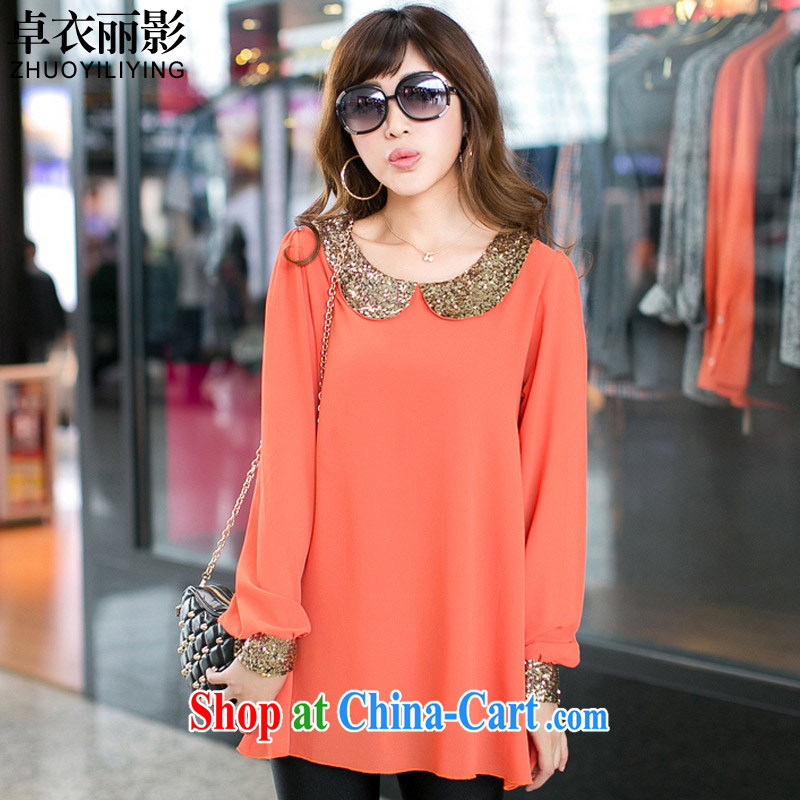 Cheuk-yan Yi-lai shadow spring large code female sweet baby collar lantern sleeve loose round-collar long-sleeved snow woven shirts larger female summer 9480 D orange 4 XL