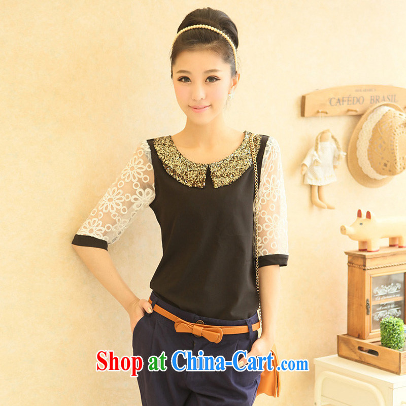 Moses Veronica XL women mm thick summer 2013 new Korean version, embroidered cuff 100 on T-shirt, T-shirt 0547 black XXL