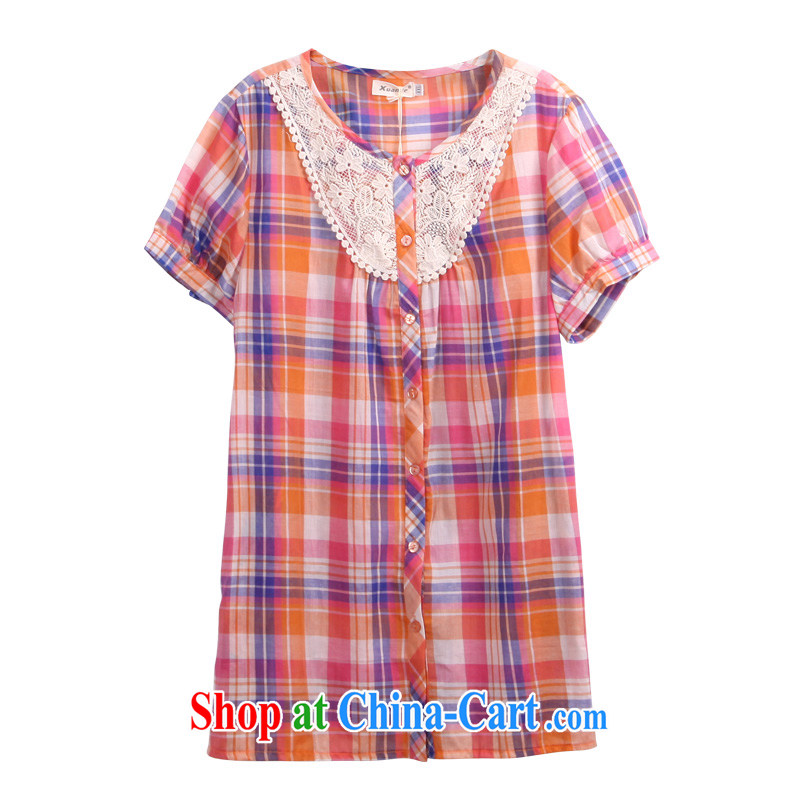 Korean female larger leisure new 2015 spring summer wear loose video thin thick mm plaid large code shirt 3310 orange, 2 XL - 44 code