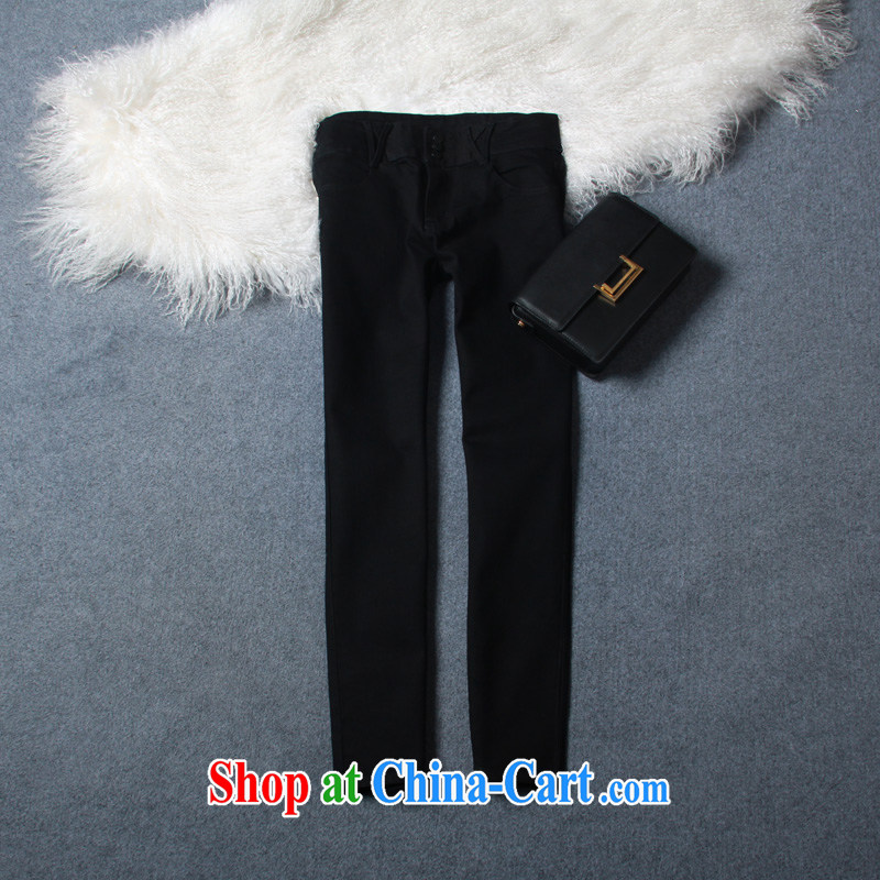 20142014 autumn and winter clothing New Classic graphics thin the charge-back Stretch tight trousers high waist larger jeans women pants 643 3 tie black 34 yards (2 feet 6)