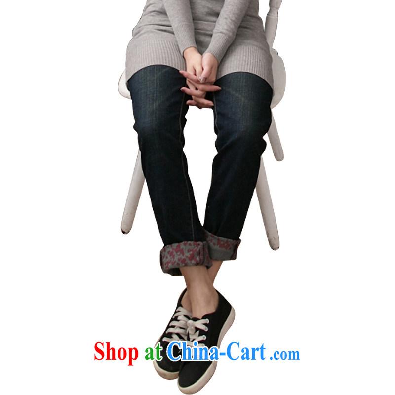 feelnet Korean Korean version the XL girls stretch high waist hem stamp female trousers jeans 001 blue black 32 yards _2 feet_ 45