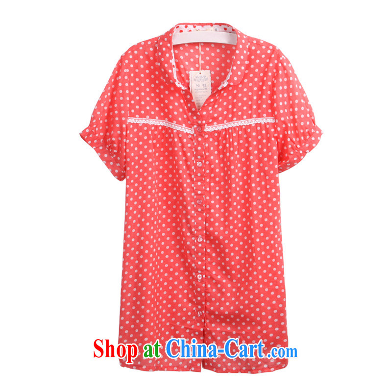King, Korean version of the greater Code women mm thick 2015 summer new graphics thin beauty XL shirt 3289 watermelon red 4XL - 48 code