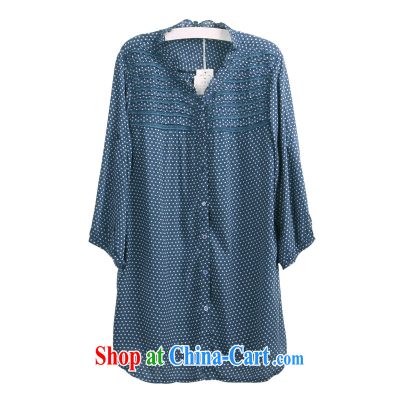 feelnet XL women s 2015 version of the new, thick sister larger summer long in leisure Women's shirt code 3197 blue 3 XL - 46 code