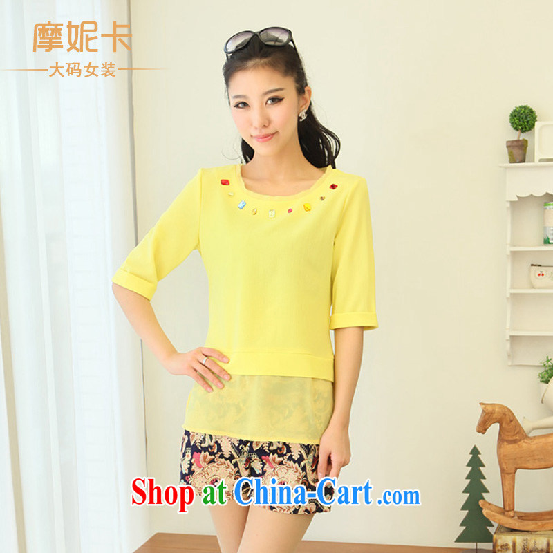 Moses Veronica XL female 2014 mm thick summer new fat people dress graphics thin coat thick sister to seamless beads, solid-colored snow woven shirts T-shirt 5115 yellow XXXL