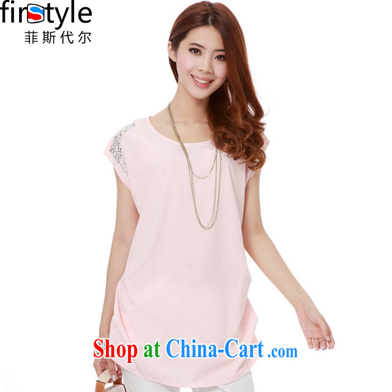 The Firstyle Code women summer thick MM long in cultivation, the code a short-sleeved shirt T female snow woven shirts pink XXL