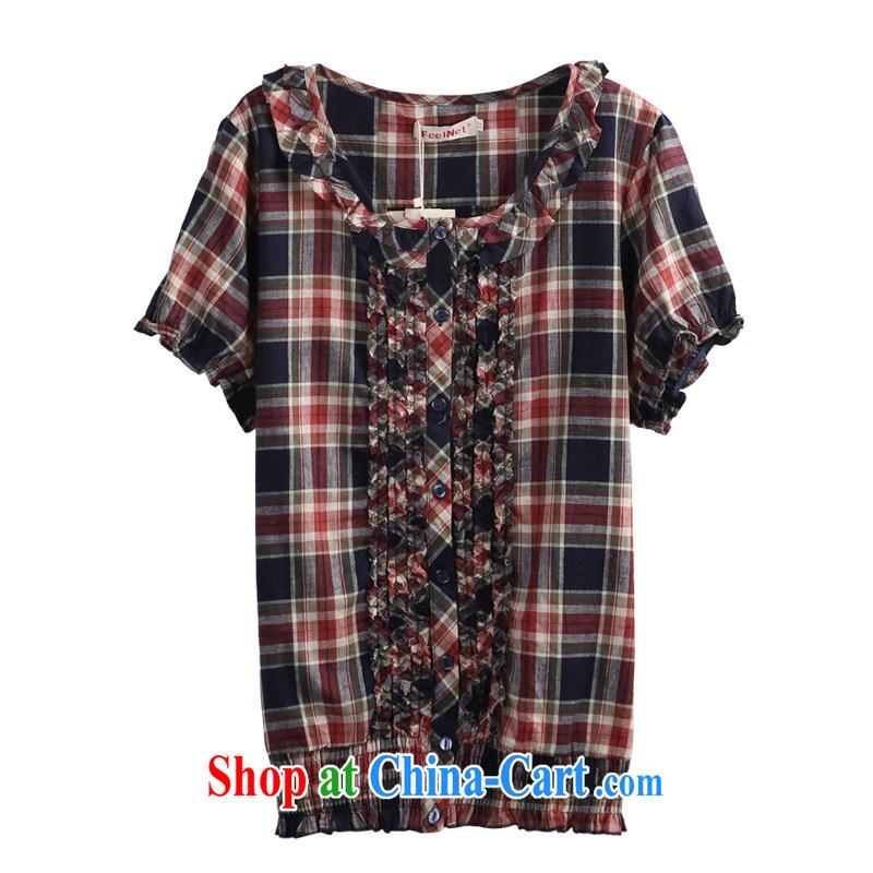 Korean feelnet larger girls decorated in summer XL shirt, new women larger shirt 2867 blue 3 XL - 46 code