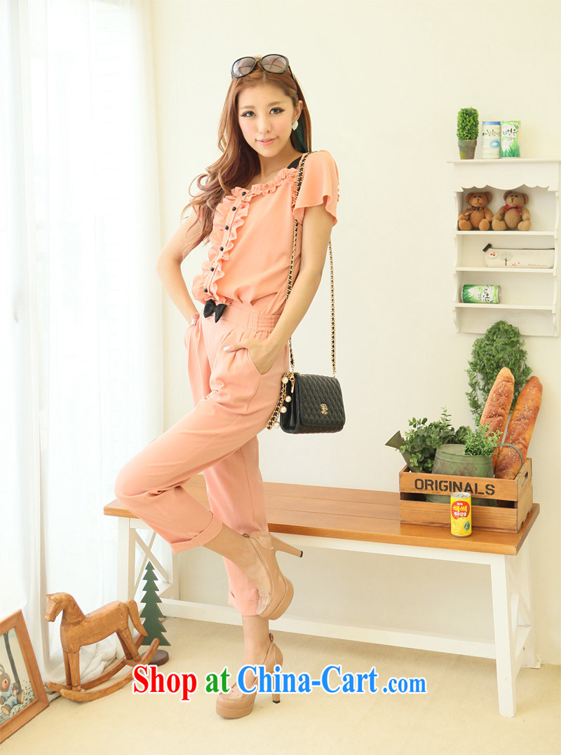 Moses Veronica XL female 2013 summer new Korean version mm thick graphics thin fat people dress bow-tie-pants pink XXL