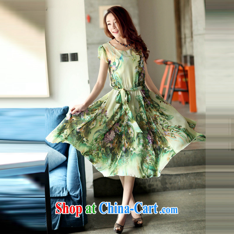 Tim in her 2015 new summer Korean Bohemia, emulation, the code dress short-sleeved round-collar only long skirt D 3521 only natural green XXXL