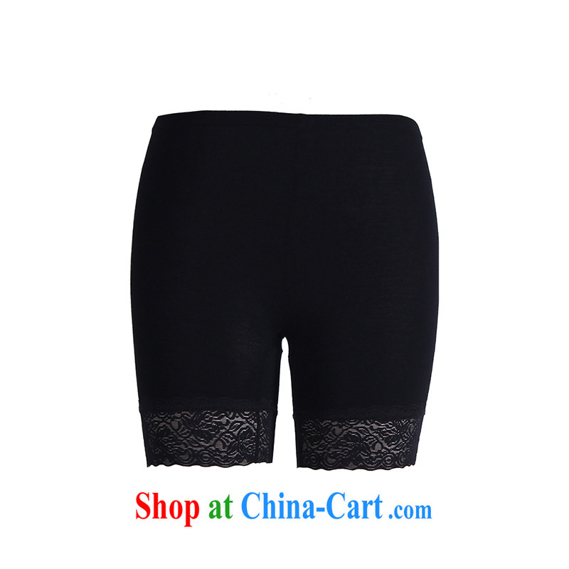 Slim Li Su-summer new, larger female thick mm lace lace 100 solid ground pants Q 2855 black XL