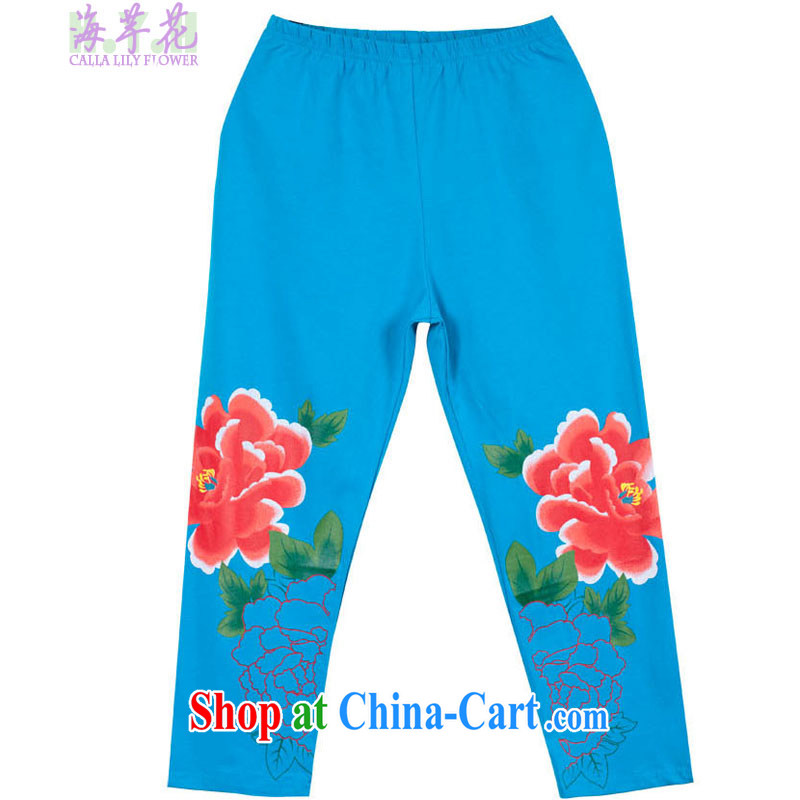The line spend a lot, women summer new thick mm national stamp 7 solid pants 119 - 3 G bright blue XL