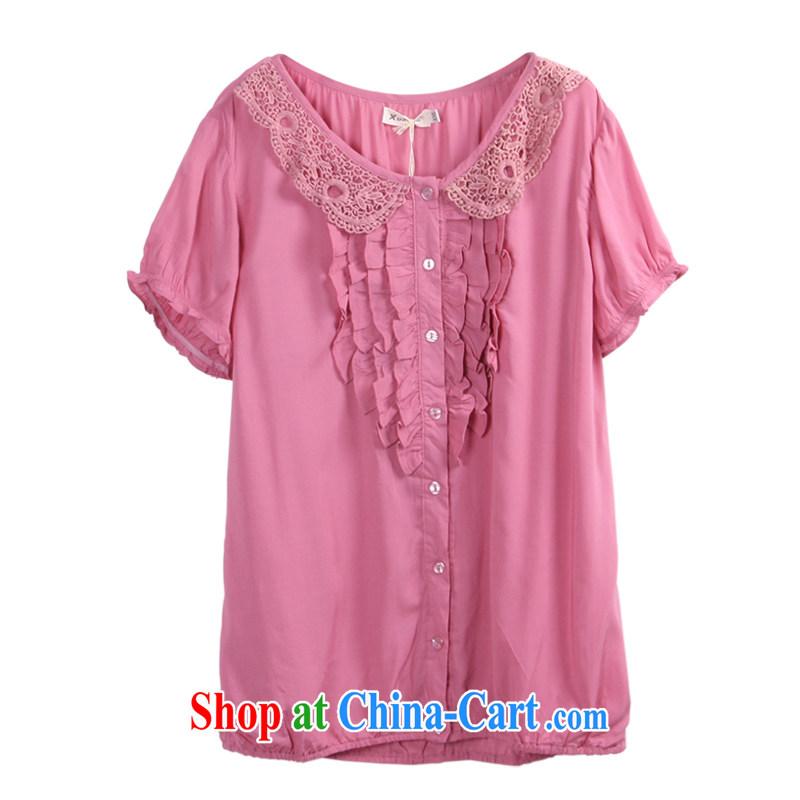 feelnet mm thick shirt girl graphics thin relaxed summer 2015 new short-sleeve Korean Casual Shirt large code shirt 3180 mauve XL - 42 code
