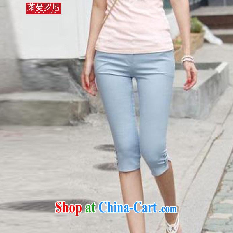 Lehman Ronnie lymalon fat people graphics thin summer 2015 new Korean, female, high-waist ultra-aggressive 7 solid pants HV 168 light blue XXXL