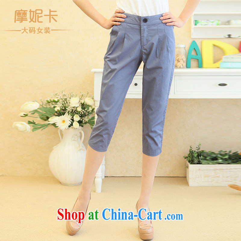 mm thick Korean version 7 pants girls summer graphics thin pants castor pants large, trouser press 7 pants female Harlan pants blue XL