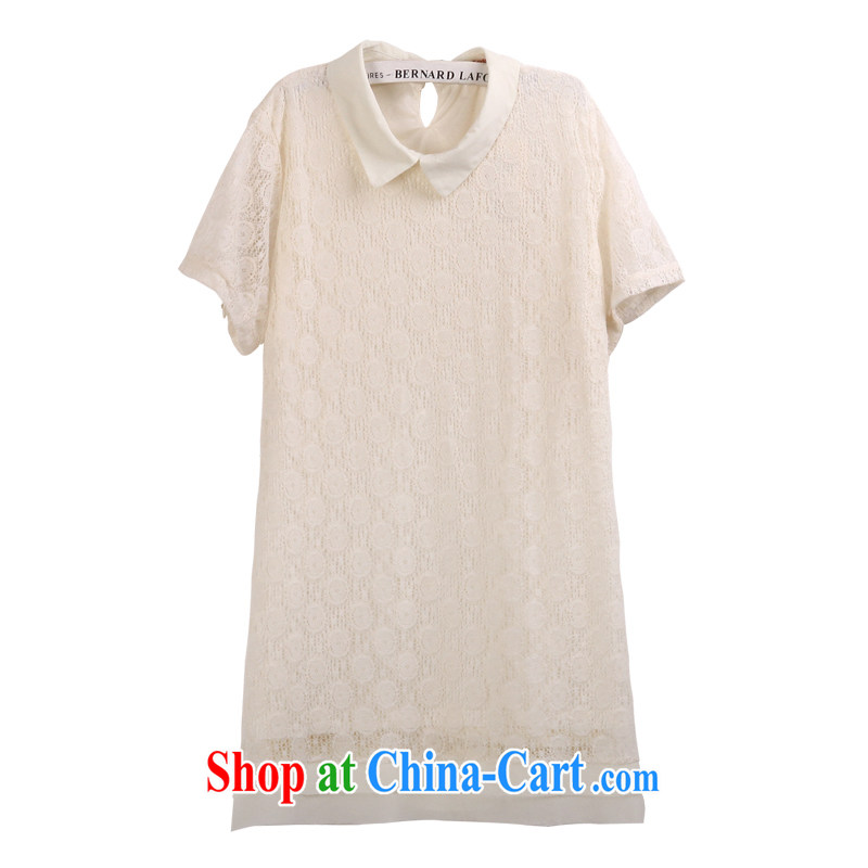 feelnet ultra-large code female Korean large, summer 2015 new short-sleeved larger lace dresses 728 m White 3XL - 46 code