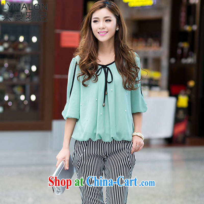 Lehman Ronnie lymalon fat people graphics thin 2015 spring and summer, the Korean version of the greater code female fashion Princess cuff with snow woven shirts T-shirt 6022 ice green XXXXL