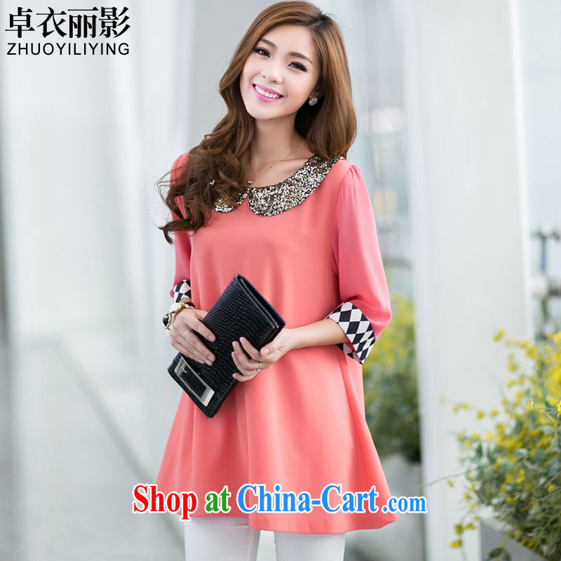 Cheuk-yan Yi Lai shadow summer girls doll for lady the code 7 cuffs, long, short-sleeved snow woven shirts M 3023 pink M