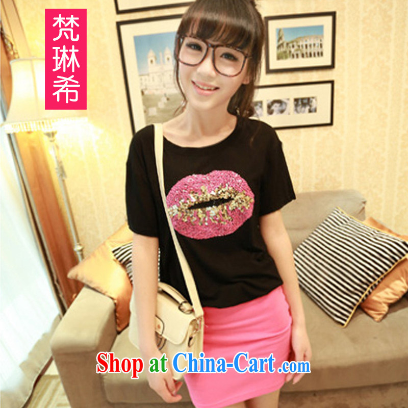Van Gogh, The 2014 summer new day, silk and cotton XL relaxed, long, sexy lips the T shirt black one size