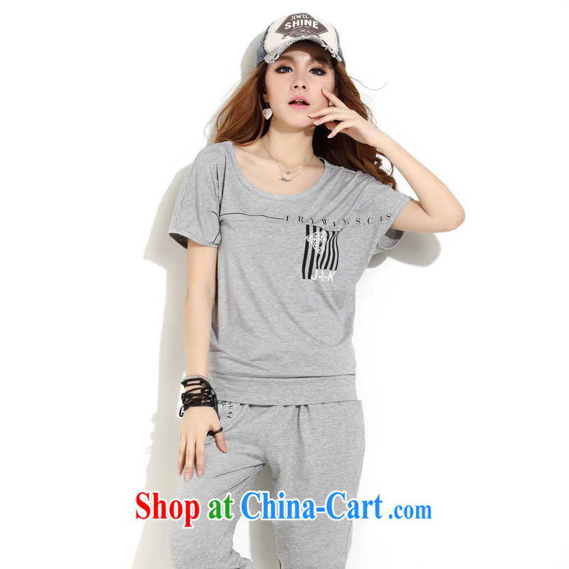 The multi-drop-down 2015 summer short-sleeve girls who Yi Korean sports package summer female Leisure package female minimalist tiger head stamp stitching lounge suite 3164 gray 3 XL code