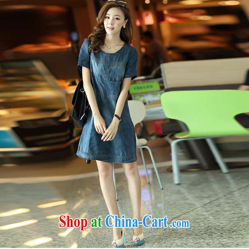 The Ju-Yee Nga summer women's code is relaxed thick sister MM mom with jeans dresses YY 1182 cowboy blue short-sleeved XL