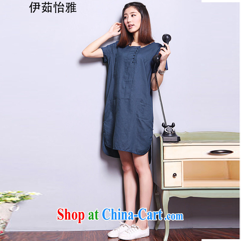 The Ju-Yee Nga summer retro fat people graphics thin loose the Code women cotton Ma dresses Y 9181 Tibetan cyan XL