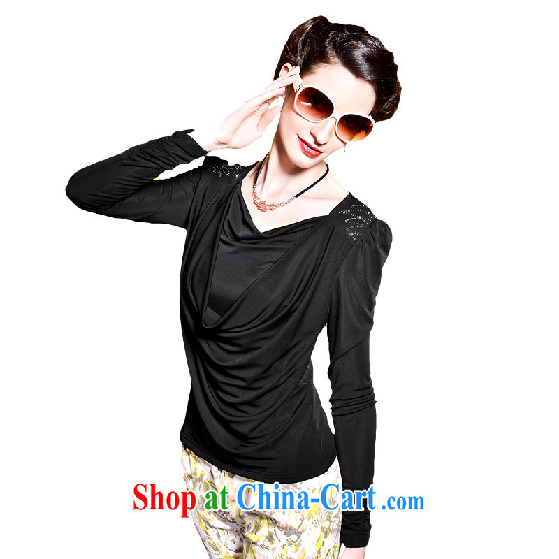 If the United States spring and new solid shirt V collar long-sleeved female T pension Europe bubble cuff large code 08,245 black XXXL code