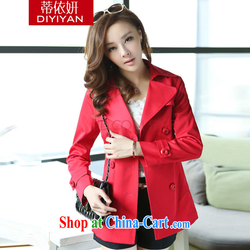 Tim in her 2015 spring new long-sleeved windbreaker Korean lapel solid color the Code women's coats, jackets female D M 24 2116 red XXXXL