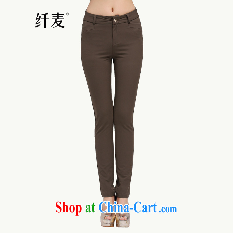 Slim, Mr Big, women fall 2014 with new thick mm stylish slim body solid castor pants long pants Y - 2301 brown L