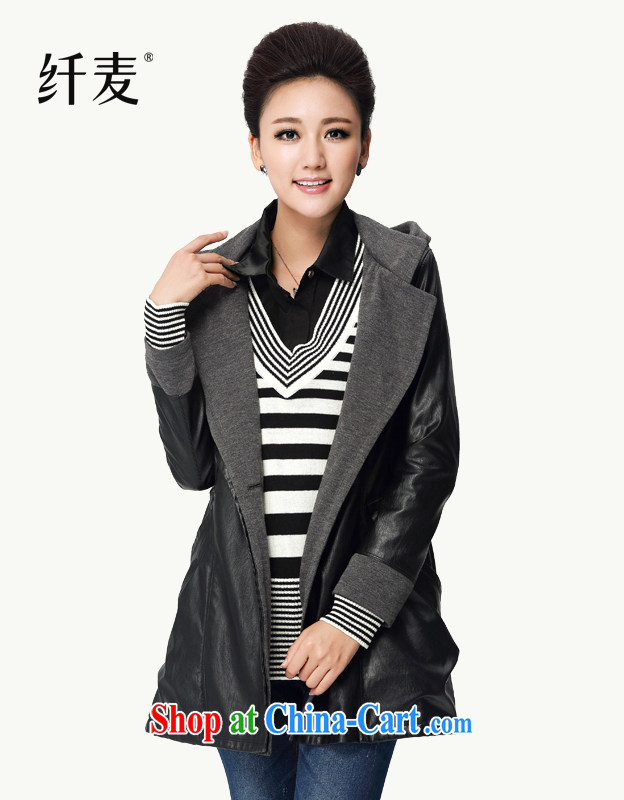 Slim, Mr Big, women fall 2014 with new thick mm XL stylish collar spell sweater long leather jacket 13,671 black XL