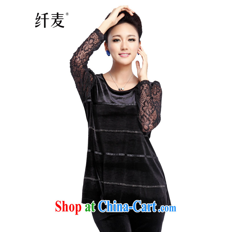 Slim, Mr Big, women autumn 2014 the new lace sleeves front panels drill gold velour shirt NZY 2355 black XXL