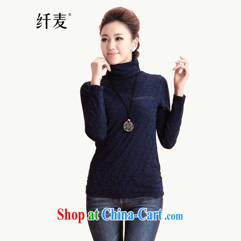 Slim, Mr Big, female 2014 Korean autumn and winter New Beauty video thin lace long-sleeved T-shirt solid T shirts female 12,273 royal blue M