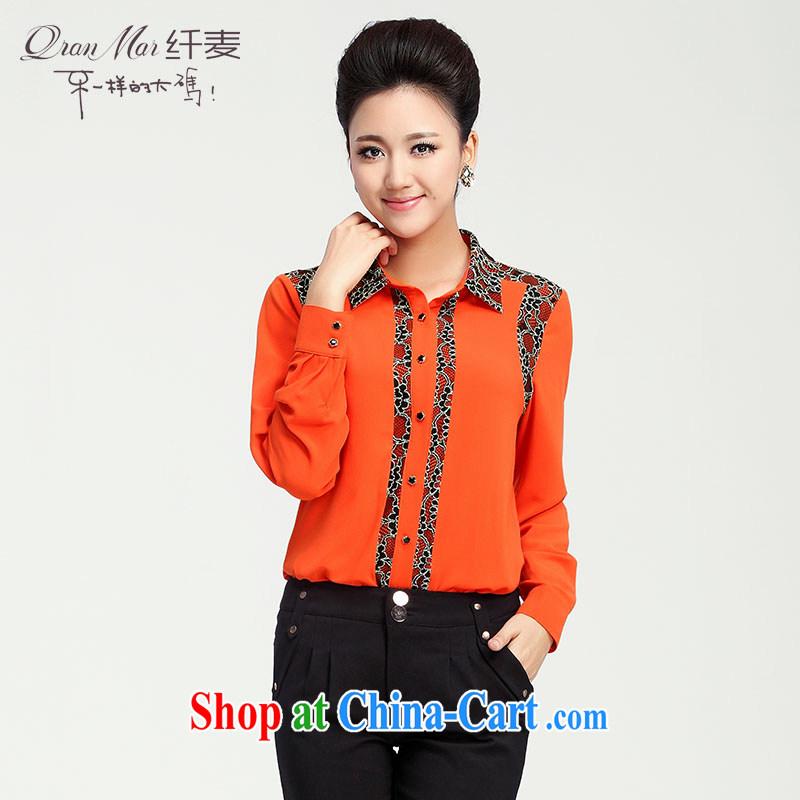 Slim, Mr Big, women fall 2014 with new female thick mm stylish lace stitching shirt T-shirt 13,608 orange M