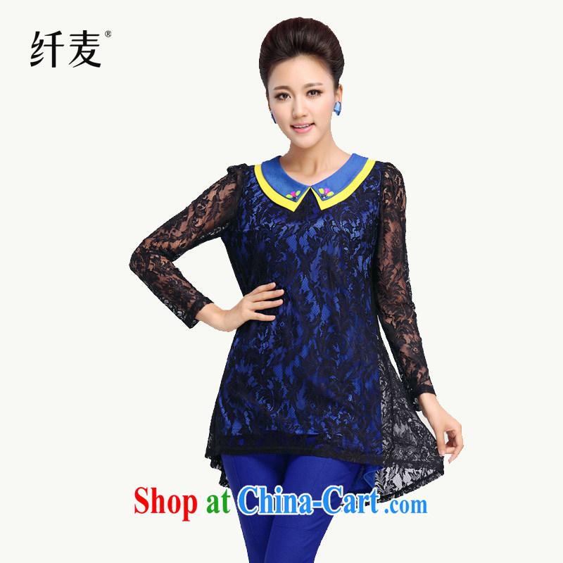 Slim, Mr Big, women fall 2014 with new thick mm stylish wood drill lapel, long lace shirt 13,578 blue XXXXL