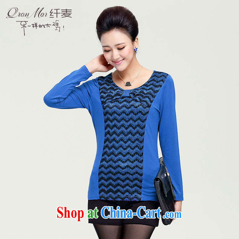 Slim, Mr Big, women autumn 2014 the new female collar bow tie lace knitting long-sleeved T-shirt 13,790 blue M