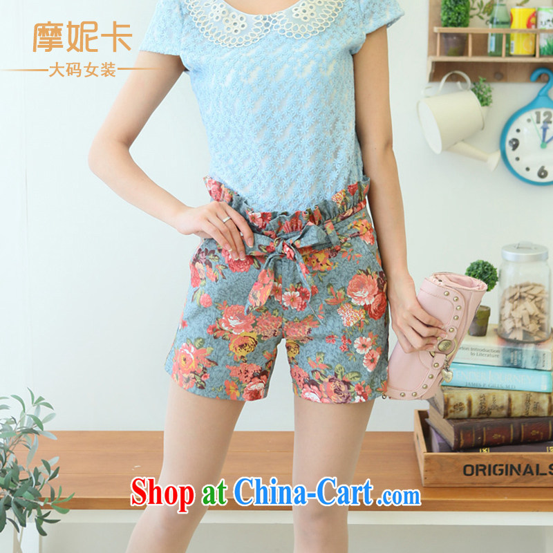 mm thick summer 2013 new Korean version has been and floral shorts Women's Code retro high waist graphics thin idyllic stamp hot pants suit XXXL