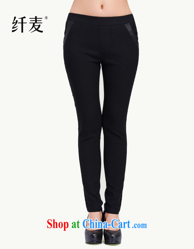 Slim, Mr Big, women fall 2014 with new thick mm stylish slim body pocket Spell Checker solid leather pants 13,972 black M