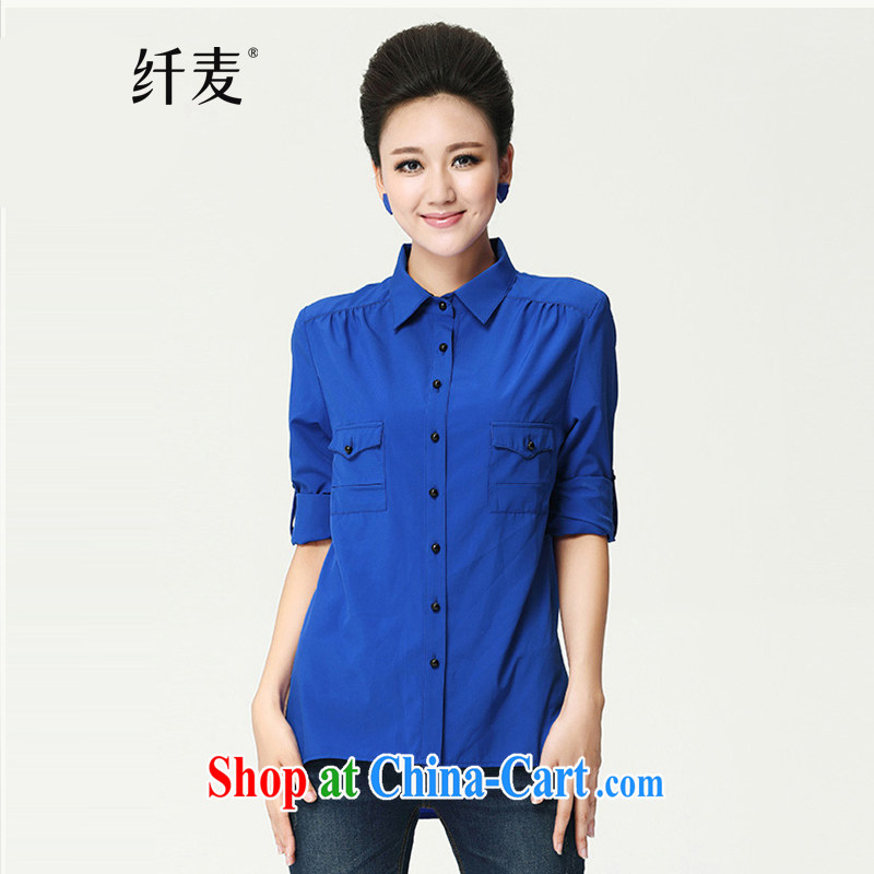 Slim, Mr Big, women fall 2014 with new thick mm stylish solid color graphics thin shirt shirt shirt 13,760 blue XXXXL