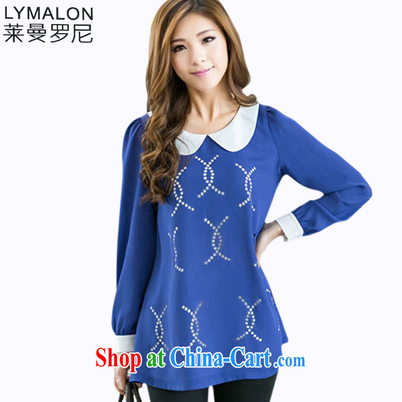 Lehman Ronnie lymalon delivery 2015 Spring and Autumn and new Korean fat people video thin larger female 100 ground long-sleeved snow woven shirts 8013 blue XXXXL