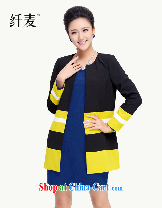 Slim, Mr Big, female 2014 liberal New thick mm Autumn with stylish knocked color stitching jacket girls in long, 13,932 black XXXXL