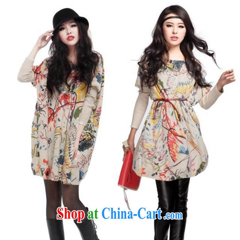 for Elizabeth's clothing the European site and stylish girl with loose large code stamp knitted dresses sweaters solid fat, replacing QA 833 suits are code