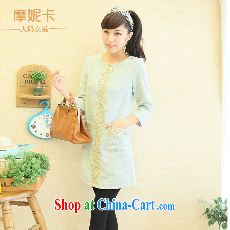 XL women s 2013 Fall edition installation of new, thick mm Cultivating Female lace collar 7 long-sleeved dresses gray-blue XXXL
